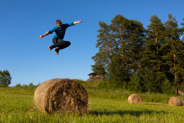 Man jumping in a field