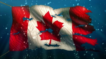 Canada Under Water Sea Torn Flag Loop Animation
