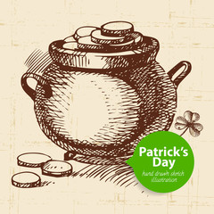 St. Patrick's Day background with hand drawn sketch