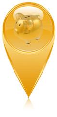 tirelire dorée sur icône bouton épingle pointe marqueur