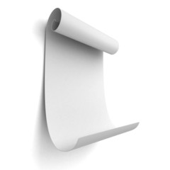 Paper blank scroll on white background wall