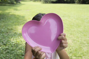 Girl with Heart Shaped plate