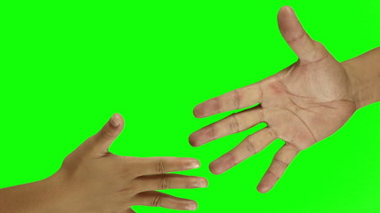 Playing rock paper scissors On Green Screen