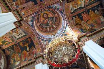 Dome painting in the Agios Minas Cathedral in Heraklion. Crete.