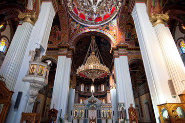 Inside of the Agios Minas Cathedral.Heraklion on Crete island.
