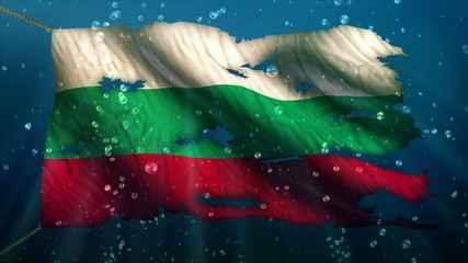 Bulgaria Under Water Sea Torn Flag Loop Animation