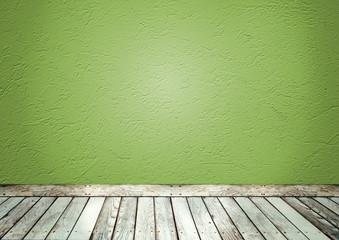 Sala com parede verde