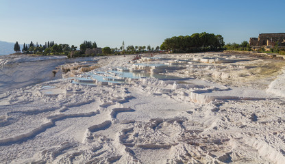 Natural travertine pools and terraces, Pamukkale Turkey