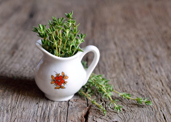 Thyme in a small jug.