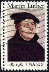 stamp printed in USA shows image portrait Martin Luther