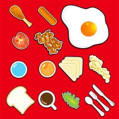 Illustration  of icon breakfast  vector