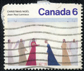 stamp printed in the Canada shows Nativity