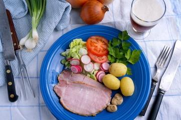 Danish ham with potatoes and mustard