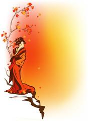 Japanese theme autumn background with geisha