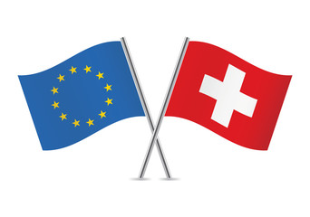 European Union and Switzerland flags. Vector illustration.