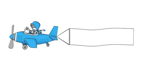 little sketchy man flying in a blue plane with banner