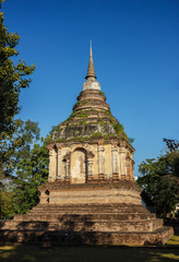 Stupa near of Buddha temple in the center of Chiang Mai