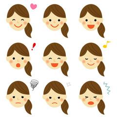 女性 表情セット / vector eps10