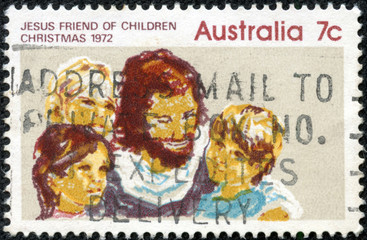 Stamp printed in AUSTRALIA shows the Jesus and Children