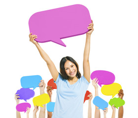 Woman Holding Pink Speech Bubble