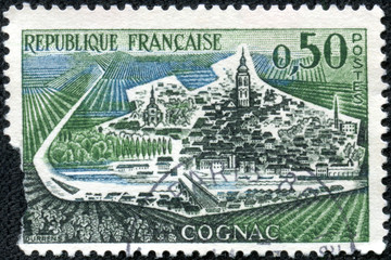 stamp printed in France shows Cognac town