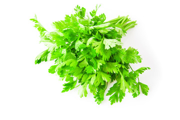 Fresh green parsley isolated on white background, food