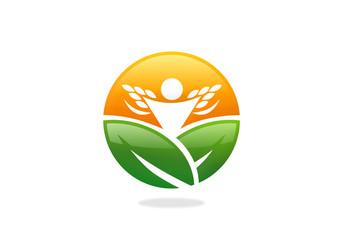 farm leaf plant people success nature vector logo