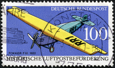 stamp shows Fokker FIII, Historic Aircraft
