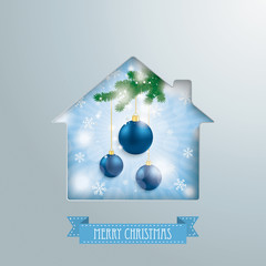House Hole Silver Background Blue Sky Christmas Baubles