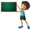 A boy holding an empty blackboard