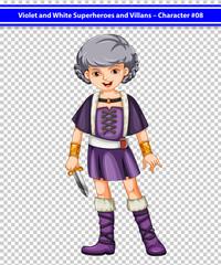 A female violet and white superhero