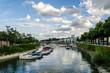 canvas print picture - Winterhafen in Mainz