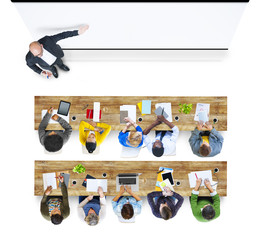 Multiethnic Group of Student Studying with Copy Space