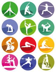 Gymnastik und Fitness Figuren  auf einem weißen Hintergrund