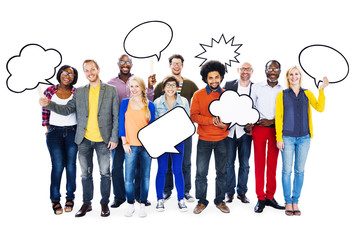 Diverse People with Empty Speech Bubble