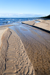 Estuary of little river in Baltic sea.