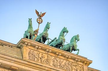 Statue on Brandenburg Gate, Berlin, Germany