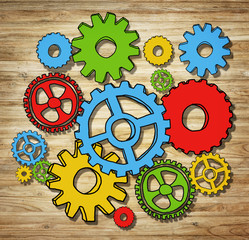 Multicolored Gears in Photo and Illustration