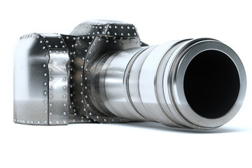 Conceptual Metal (Platinum) Photo Camera On White Background
