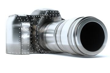 Conceptual Metal (Platinum) Photo Camera On White Background