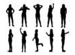 Set of various posing woman silhouettes.