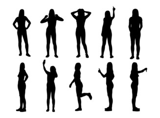 Set of various posing woman silhouettes.