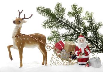 Weihnachtsdekoration, Weihnachtsmann mit Schlitten