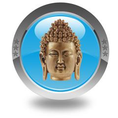 tête de bouddha sur bouton