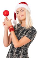 Woman in Santa Claus hat