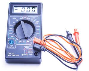 Digital multimeter on white background