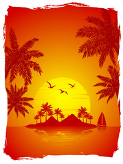 summer vacation on tropical island sunset background , with Palm