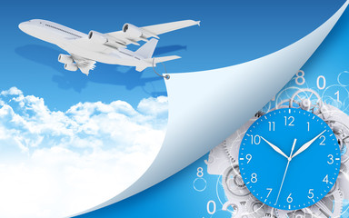 Airplane and clock face, gears with figures