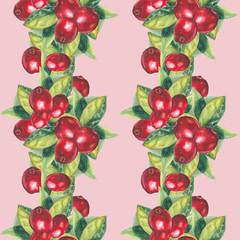 watercolor cranberries pattern