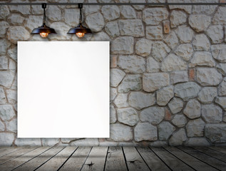 Blank frame on stone wall and wood floor for information message